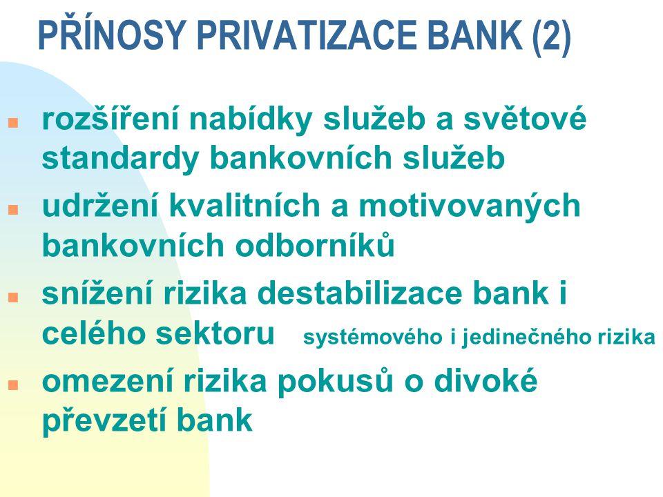 PŘÍNOSY PRIVATIZACE BANK (2) n rozšíření nabídky služeb a světové standardy bankovních služeb n udržení kvalitních a motivovaných bankovních odborníků