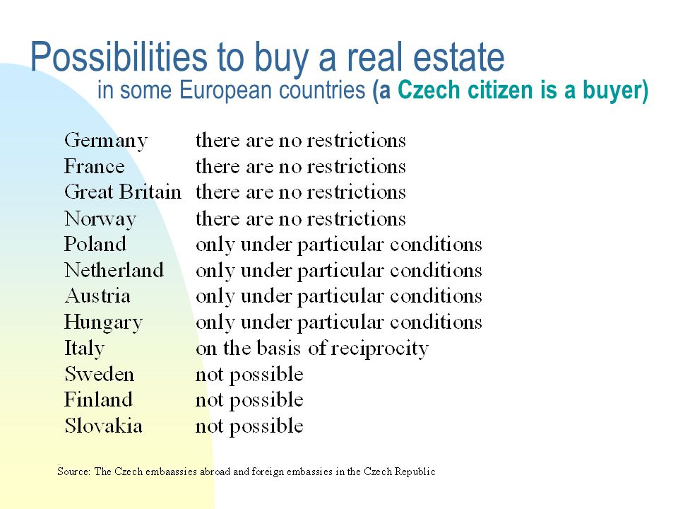 Possibilities to buy a real estate in some European countries (a Czech citizen is a buyer)