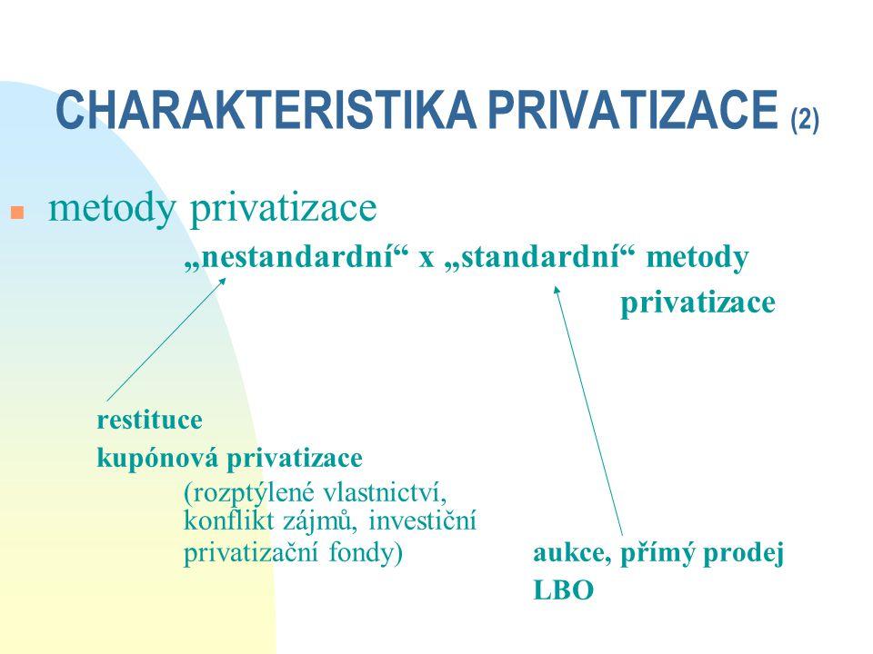 """CHARAKTERISTIKA PRIVATIZACE (2) n metody privatizace """"nestandardní"""" x """"standardní"""" metody privatizace restituce kupónová privatizace (rozptýlené vlast"""