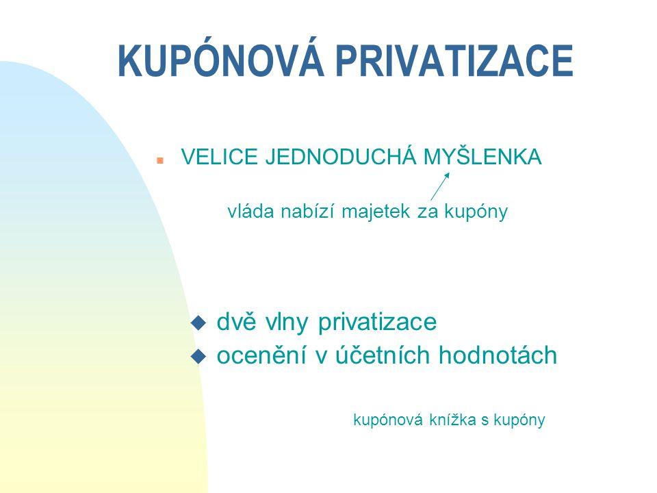 PRIVATIZACE BANK V POLSKU (c) n Kromě 9 regionálních bank, vzniklých rozdělením komerčního portfolia NBP, další banky privatizovány n Powszechna Kasa Oszczędnośći - Bank Państwowy (PKO) u spořitelna přijímající depozita v PZŁ; poskytuje úvěry na výstavbu domů a bytů; u jediná dosud neprivatizovaná banka