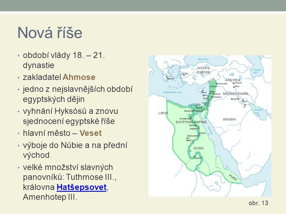 Nová říše období vlády 18. – 21. dynastie zakladatel Ahmose jedno z nejslavnějších období egyptských dějin vyhnání Hyksósů a znovu sjednocení egyptské