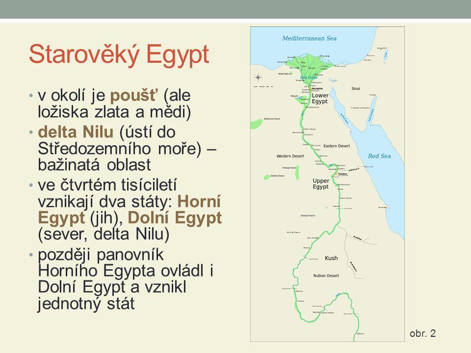 Starověký Egypt v okolí je poušť (ale ložiska zlata a mědi) delta Nilu (ústí do Středozemního moře) – bažinatá oblast ve čtvrtém tisíciletí vznikají d