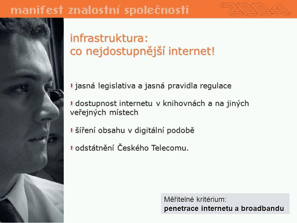 infrastruktura: co nejdostupnější internet.