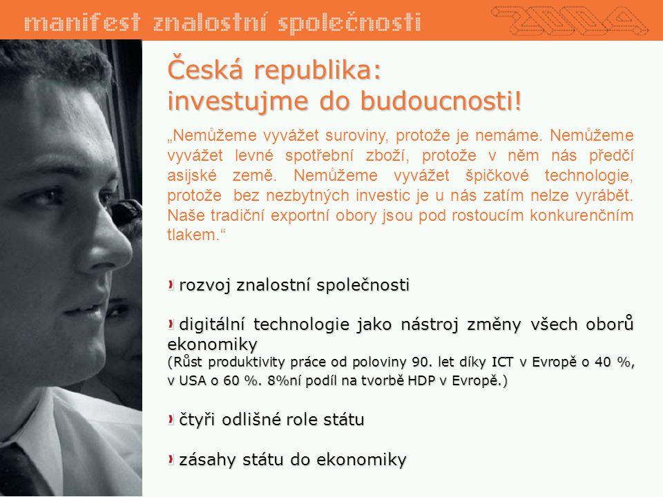 """Česká republika: investujme do budoucnosti.""""Nemůžeme vyvážet suroviny, protože je nemáme."""