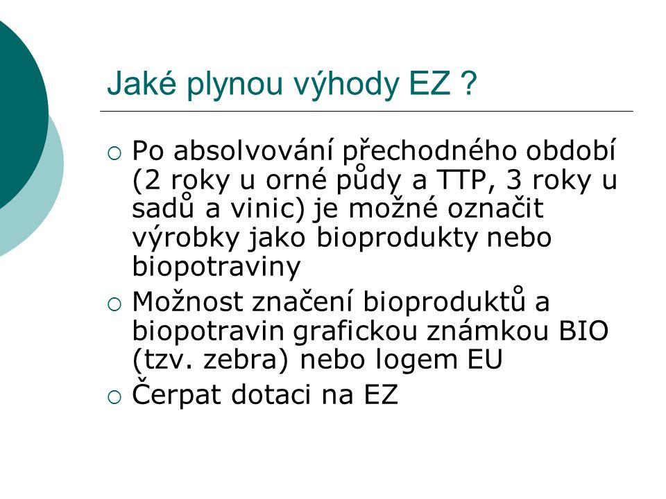 Jaké plynou výhody EZ ?  Po absolvování přechodného období (2 roky u orné půdy a TTP, 3 roky u sadů a vinic) je možné označit výrobky jako bioprodukt