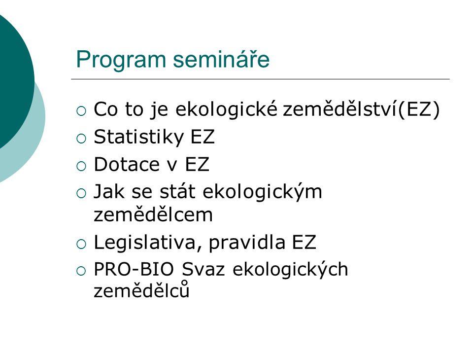 Program semináře  Co to je ekologické zemědělství(EZ)  Statistiky EZ  Dotace v EZ  Jak se stát ekologickým zemědělcem  Legislativa, pravidla EZ 