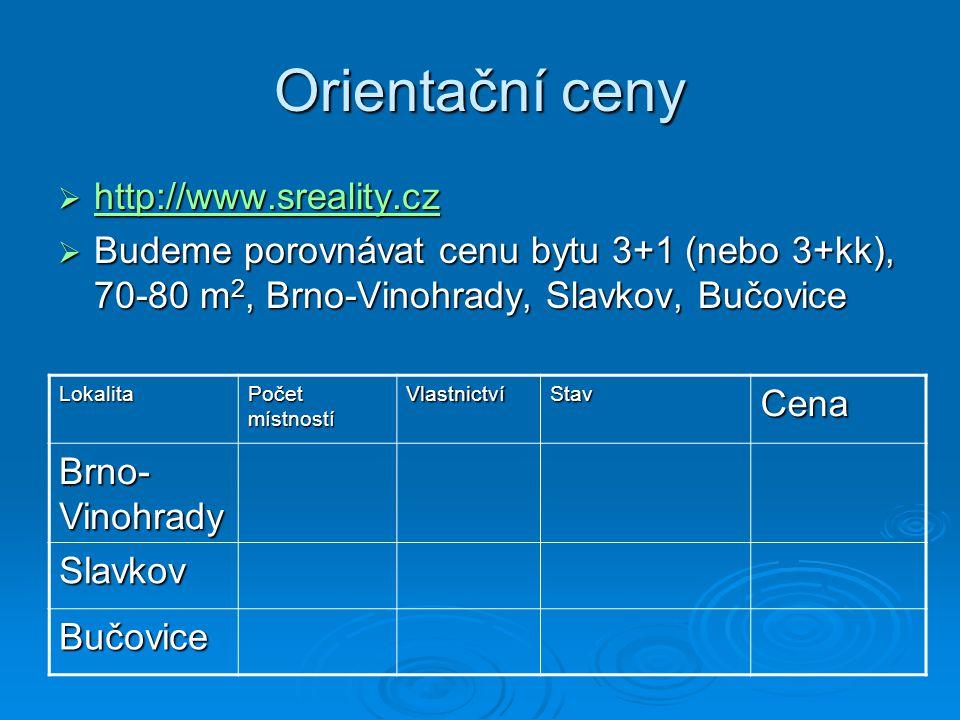 Orientační ceny  http://www.sreality.cz http://www.sreality.cz  Budeme porovnávat cenu bytu 3+1 (nebo 3+kk), 70-80 m 2, Brno-Vinohrady, Slavkov, Buč