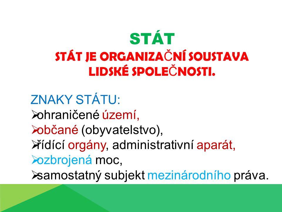 STÁT STÁT JE ORGANIZA Č NÍ SOUSTAVA LIDSKÉ SPOLE Č NOSTI.