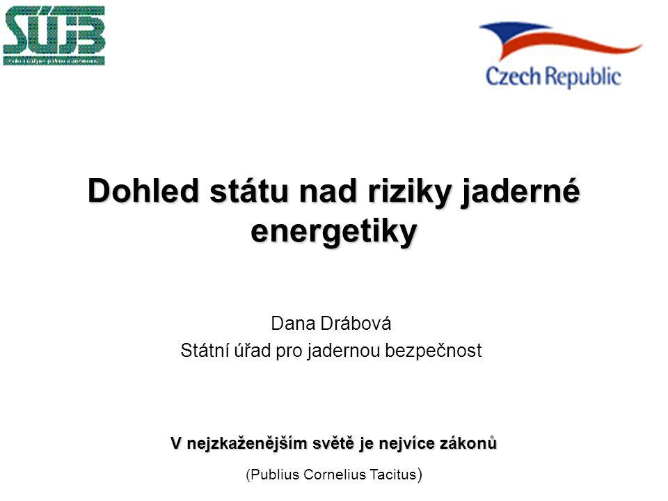 Dohled státu nad riziky jaderné energetiky Dana Drábová Státní úřad pro jadernou bezpečnost V nejzkaženějším světě je nejvíce zákonů (Publius Cornelius Tacitus )