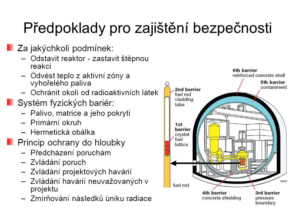 Předpoklady pro zajištění bezpečnosti Za jakýchkoli podmínek: –Odstavit reaktor - zastavit štěpnou reakci –Odvést teplo z aktivní zóny a vyhořelého paliva –Ochránit okolí od radioaktivních látek Systém fyzických bariér: –Palivo, matrice a jeho pokrytí –Primární okruh –Hermetická obálka Princip ochrany do hloubky –Předcházení poruchám –Zvládání poruch –Zvládání projektových havárií –Zvládání havárií neuvažovaných v projektu –Zmírňování následků úniku radiace