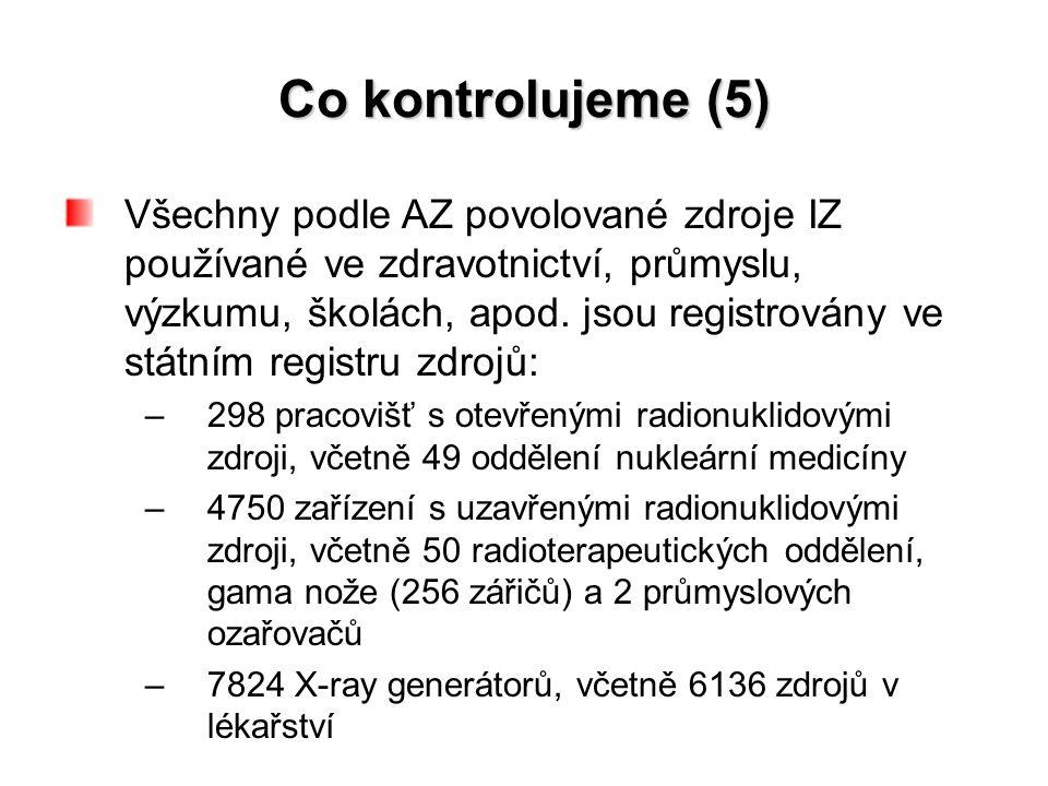 Co kontrolujeme (5) Všechny podle AZ povolované zdroje IZ používané ve zdravotnictví, průmyslu, výzkumu, školách, apod.