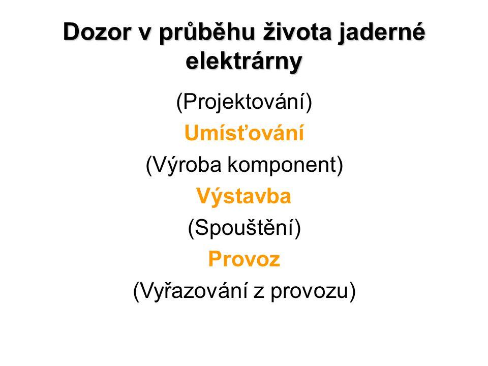 Dozor v průběhu života jaderné elektrárny (Projektování) Umísťování (Výroba komponent) Výstavba (Spouštění) Provoz (Vyřazování z provozu)