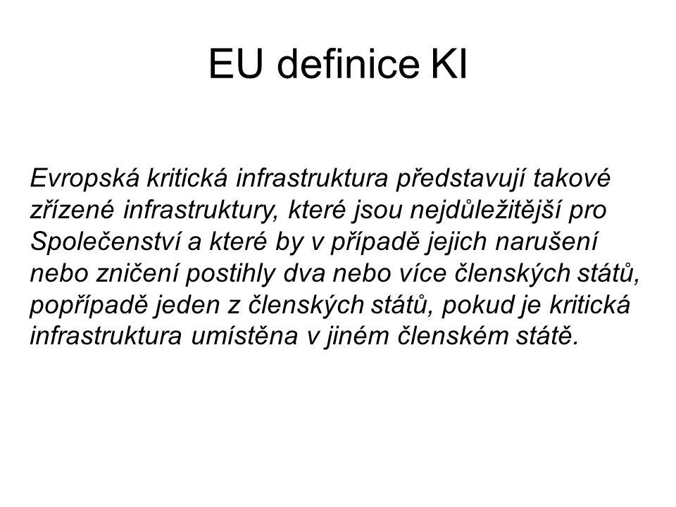 EU definice KI Evropská kritická infrastruktura představují takové zřízené infrastruktury, které jsou nejdůležitější pro Společenství a které by v pří