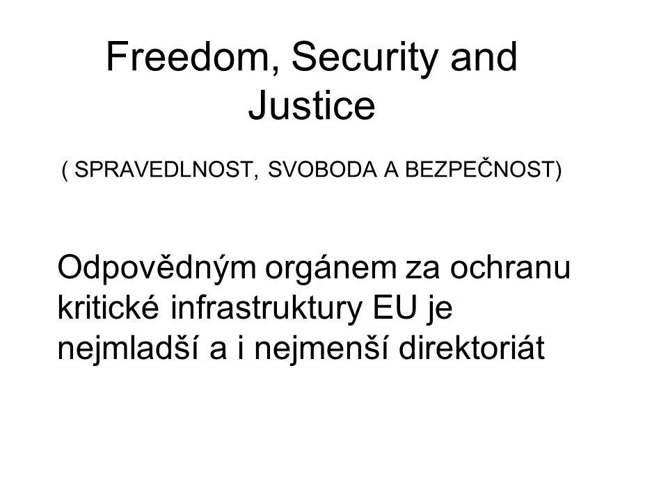 Odpovědným orgánem za ochranu kritické infrastruktury EU je nejmladší a i nejmenší direktoriát Freedom, Security and Justice ( SPRAVEDLNOST, SVOBODA A