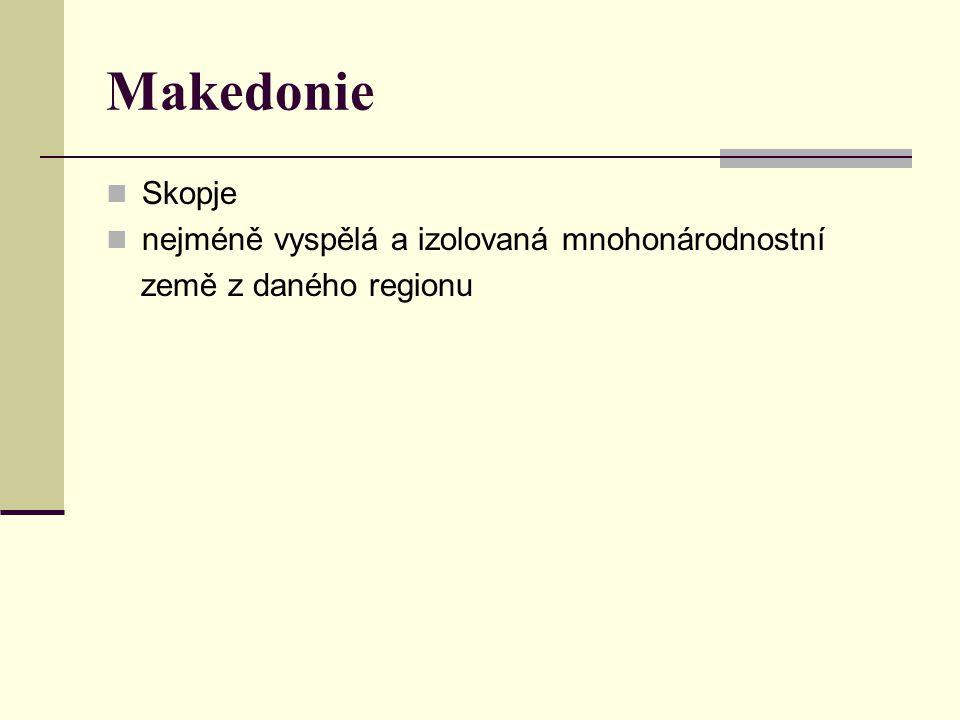 Makedonie Skopje nejméně vyspělá a izolovaná mnohonárodnostní země z daného regionu