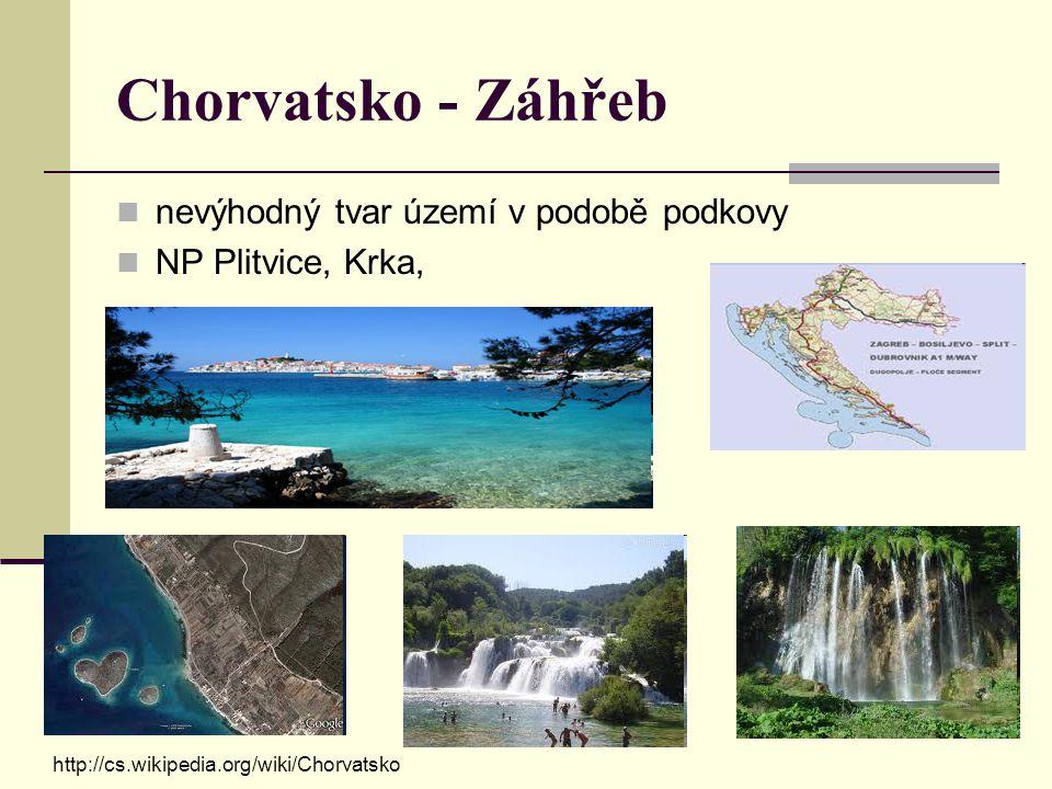 Chorvatsko - Záhřeb nevýhodný tvar území v podobě podkovy NP Plitvice, Krka, http://cs.wikipedia.org/wiki/Chorvatsko