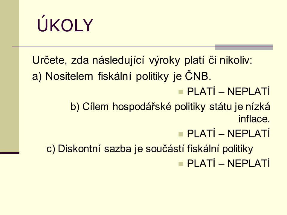 ÚKOLY Určete, zda následující výroky platí či nikoliv: a) Nositelem fiskální politiky je ČNB.