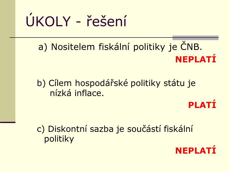 ÚKOLY - řešení a) Nositelem fiskální politiky je ČNB.