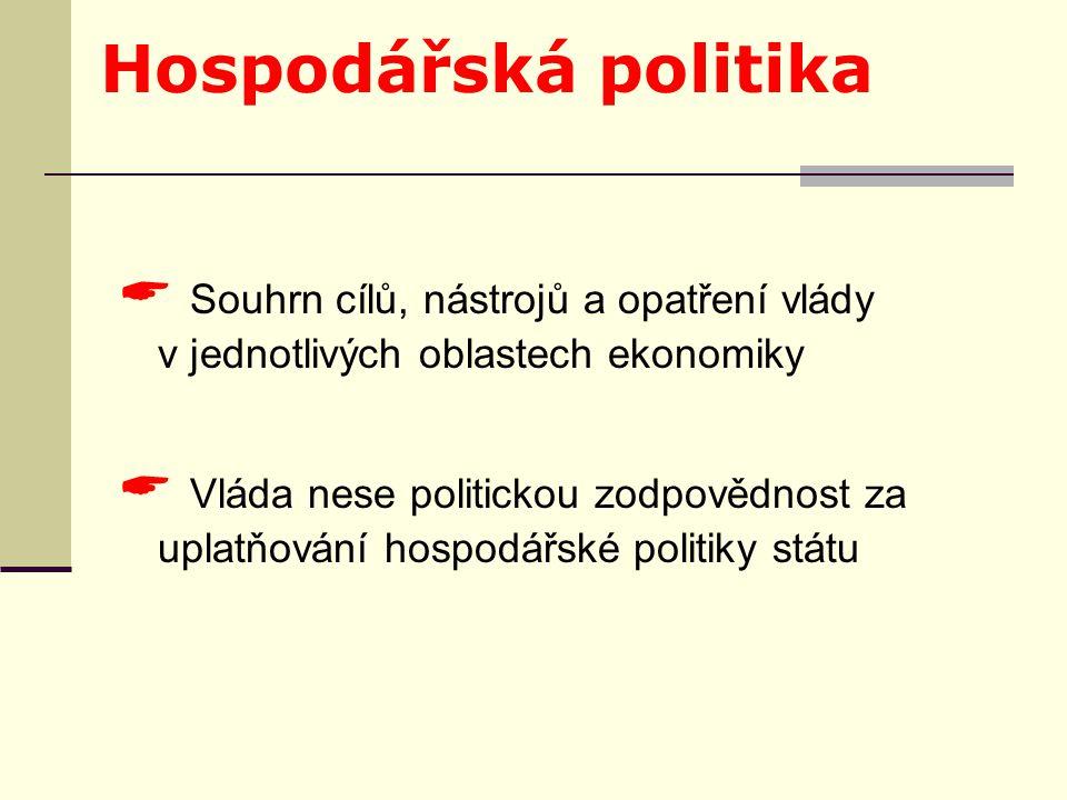 Hospodářská politika  Souhrn cílů, nástrojů a opatření vlády v jednotlivých oblastech ekonomiky  Vláda nese politickou zodpovědnost za uplatňování hospodářské politiky státu