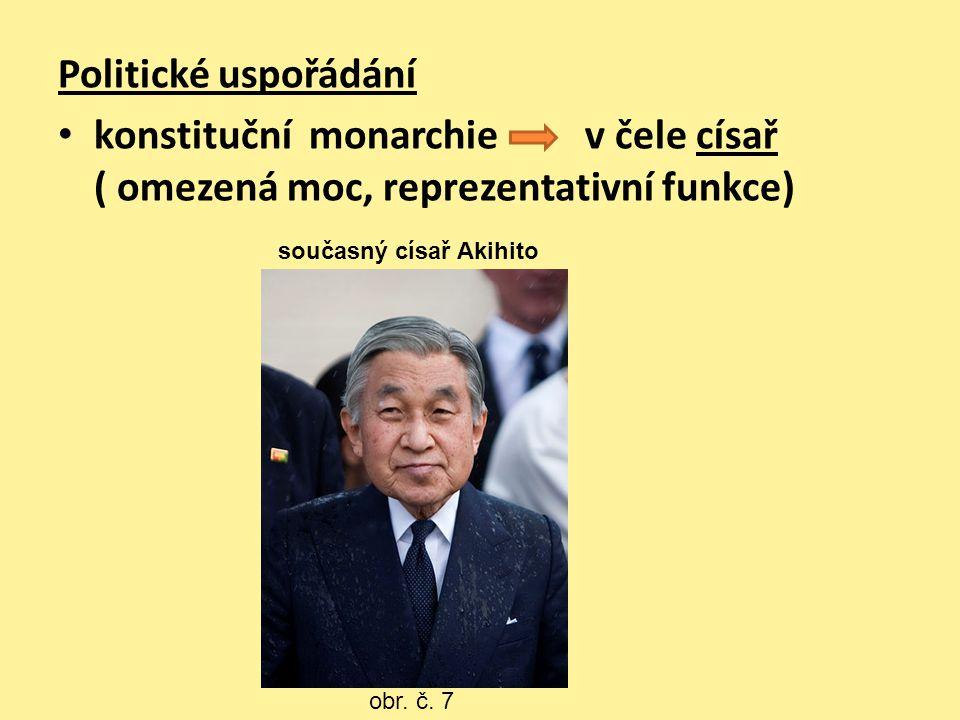 Politické uspořádání konstituční monarchie v čele císař ( omezená moc, reprezentativní funkce) obr. č. 7 současný císař Akihito