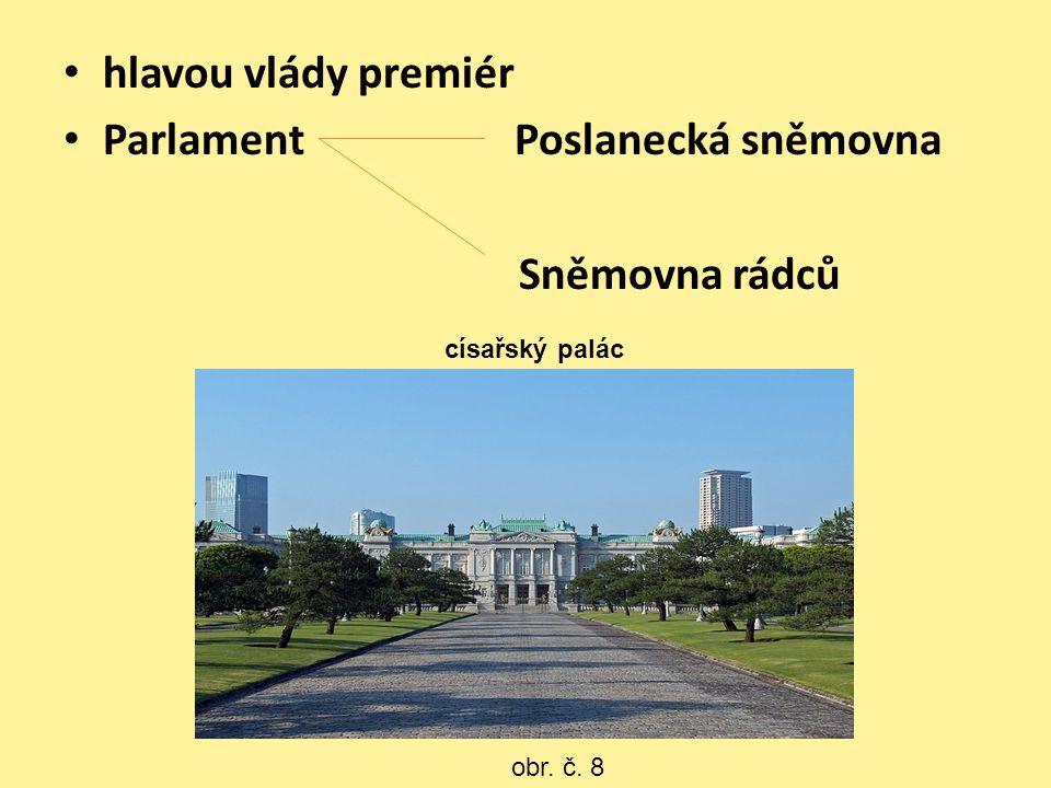 hlavou vlády premiér Parlament Poslanecká sněmovna Sněmovna rádců obr. č. 8 císařský palác