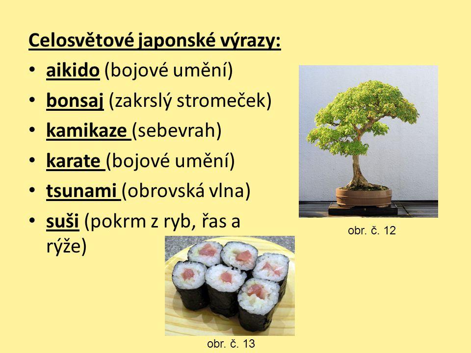 Celosvětové japonské výrazy: aikido (bojové umění) bonsaj (zakrslý stromeček) kamikaze (sebevrah) karate (bojové umění) tsunami (obrovská vlna) suši (
