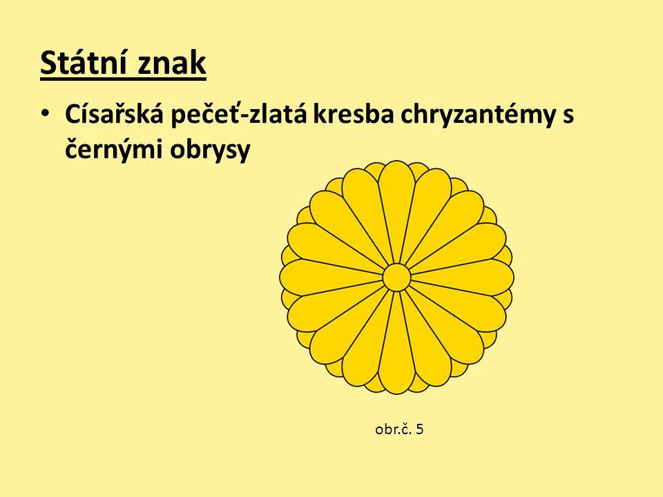 Státní znak Císařská pečeť-zlatá kresba chryzantémy s černými obrysy obr.č. 5