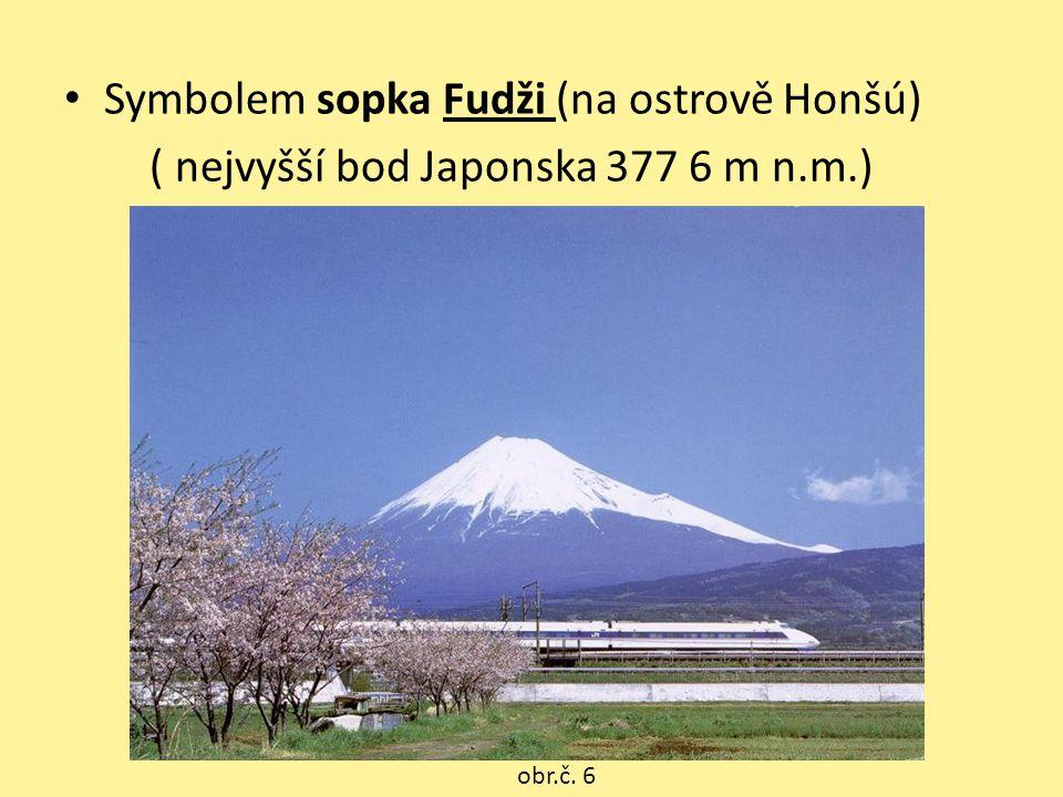 Symbolem sopka Fudži (na ostrově Honšú) ( nejvyšší bod Japonska 377 6 m n.m.) obr.č. 6