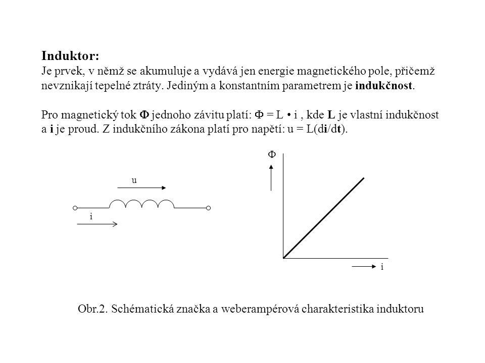 Induktor: Je prvek, v němž se akumuluje a vydává jen energie magnetického pole, přičemž nevznikají tepelné ztráty. Jediným a konstantním parametrem je