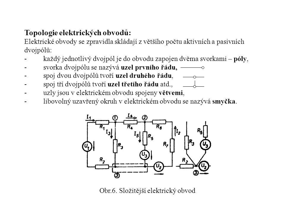 Topologie elektrických obvodů: Elektrické obvody se zpravidla skládají z většího počtu aktivních a pasivních dvojpólů: -každý jednotlivý dvojpól je do