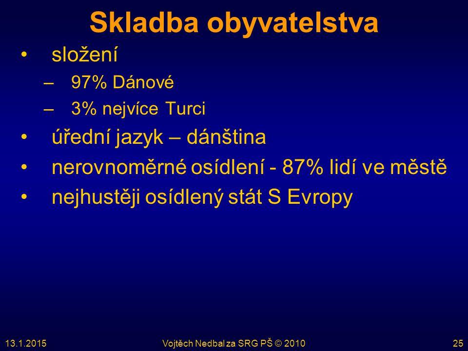 13.1.2015Vojtěch Nedbal za SRG PŠ © 201025 Skladba obyvatelstva složení –97% Dánové –3% nejvíce Turci úřední jazyk – dánština nerovnoměrné osídlení -