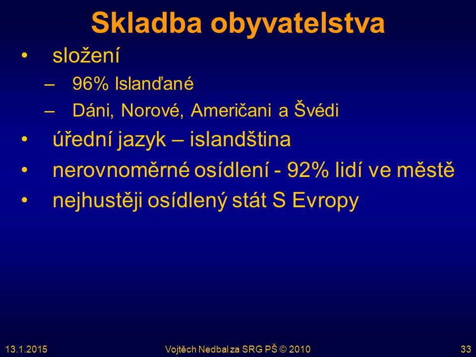 13.1.2015Vojtěch Nedbal za SRG PŠ © 201033 Skladba obyvatelstva složení –96% Islanďané –Dáni, Norové, Američani a Švédi úřední jazyk – islandština ner