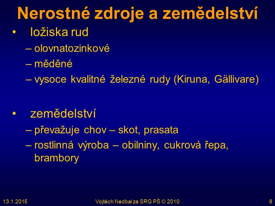 13.1.2015Vojtěch Nedbal za SRG PŠ © 20108 Nerostné zdroje a zemědelství ložiska rud –olovnatozinkové –měděné –vysoce kvalitné železné rudy (Kiruna, Gä