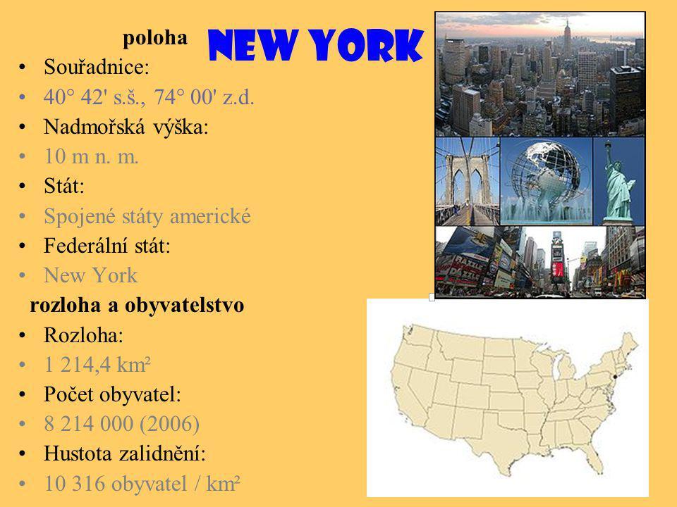 New York poloha Souřadnice: 40° 42 s.š., 74° 00 z.d.