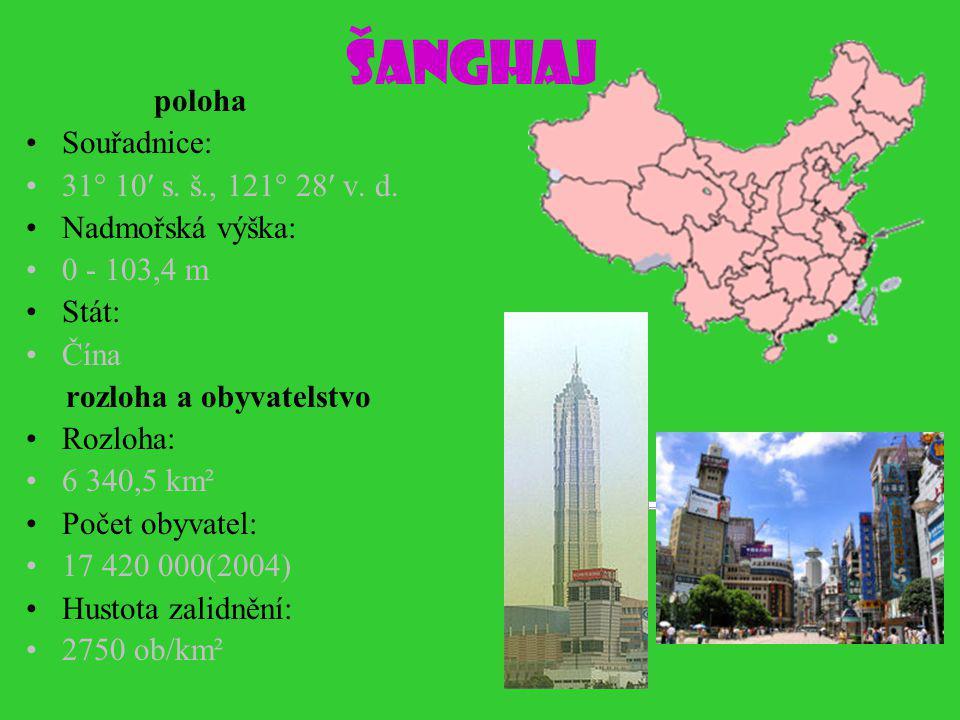 Šanghaj poloha Souřadnice: 31° 10′ s.š., 121° 28′ v.