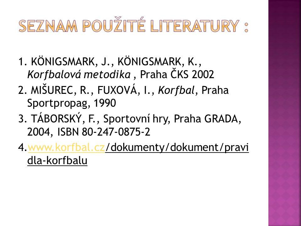 1. KÖNIGSMARK, J., KÖNIGSMARK, K., Korfbalová metodika, Praha ČKS 2002 2. MIŠUREC, R., FUXOVÁ, I., Korfbal, Praha Sportpropag, 1990 3. TÁBORSKÝ, F., S