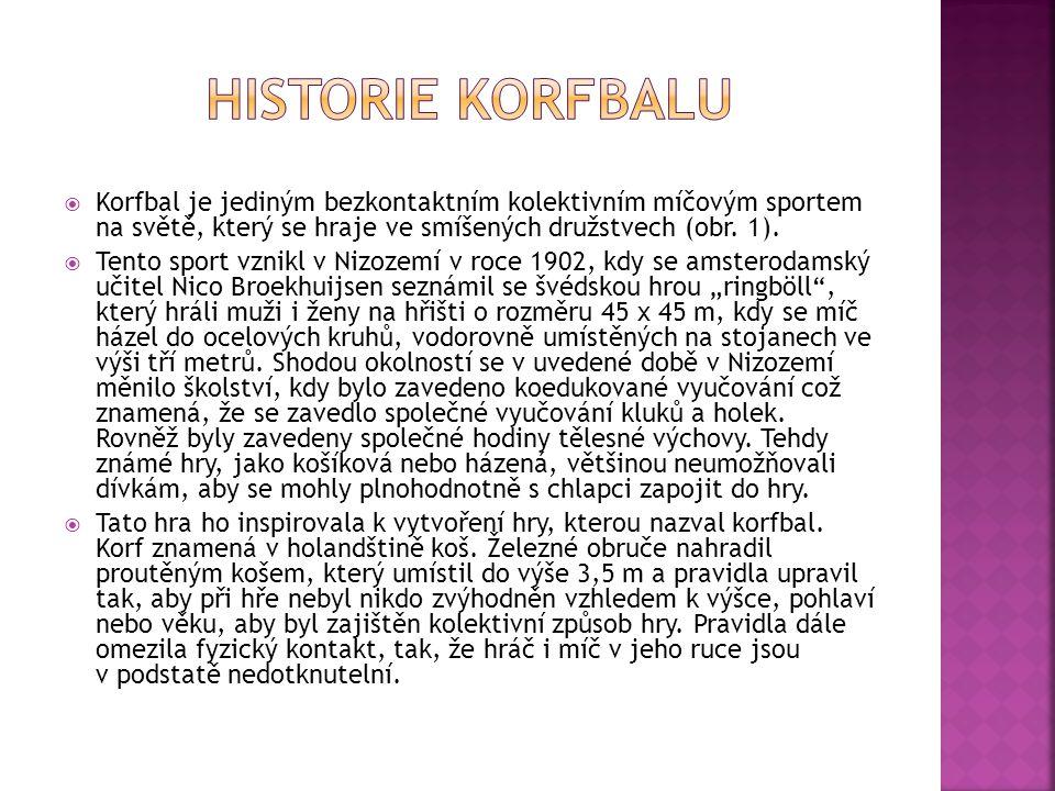  Korfbal je jediným bezkontaktním kolektivním míčovým sportem na světě, který se hraje ve smíšených družstvech (obr. 1).  Tento sport vznikl v Nizoz