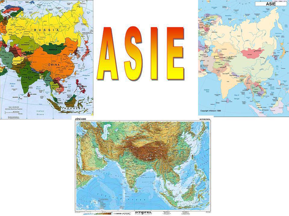 ASIE Asie je největší světadíl světa Zabírá 44,4 mil km2 Je spojená s Evropou Krajní body : S – Čeljuskynův mys J – Mys Buru V – Děžnevův mys Z – Mys Baba