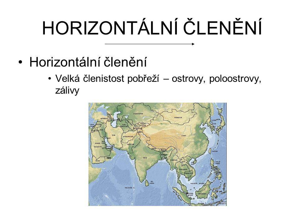 VERTIKÁLNÍ ČLENĚNÍ Různorodý kontinent, nížiny, pouště, hory Nížiny: Západosibiřská nížina Severosibiřská nížina Velká čínská nížina Indoganžská nížina Mezopotámská nížina Hory Himaláje – Mont Everest Atlaj Hinduš Kavkaz Ural Tibetská plošina Nejnižší bod: Mrtvé moře = -400m
