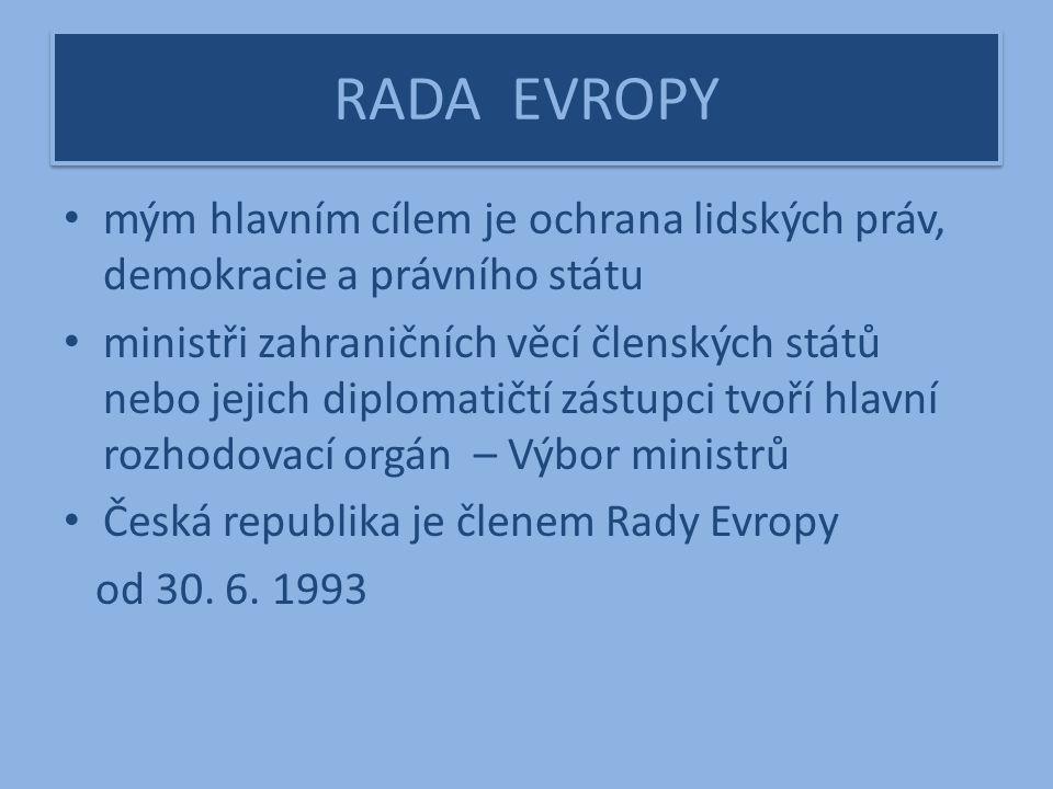 RADA EVROPY mým hlavním cílem je ochrana lidských práv, demokracie a právního státu ministři zahraničních věcí členských států nebo jejich diplomatičtí zástupci tvoří hlavní rozhodovací orgán – Výbor ministrů Česká republika je členem Rady Evropy od 30.