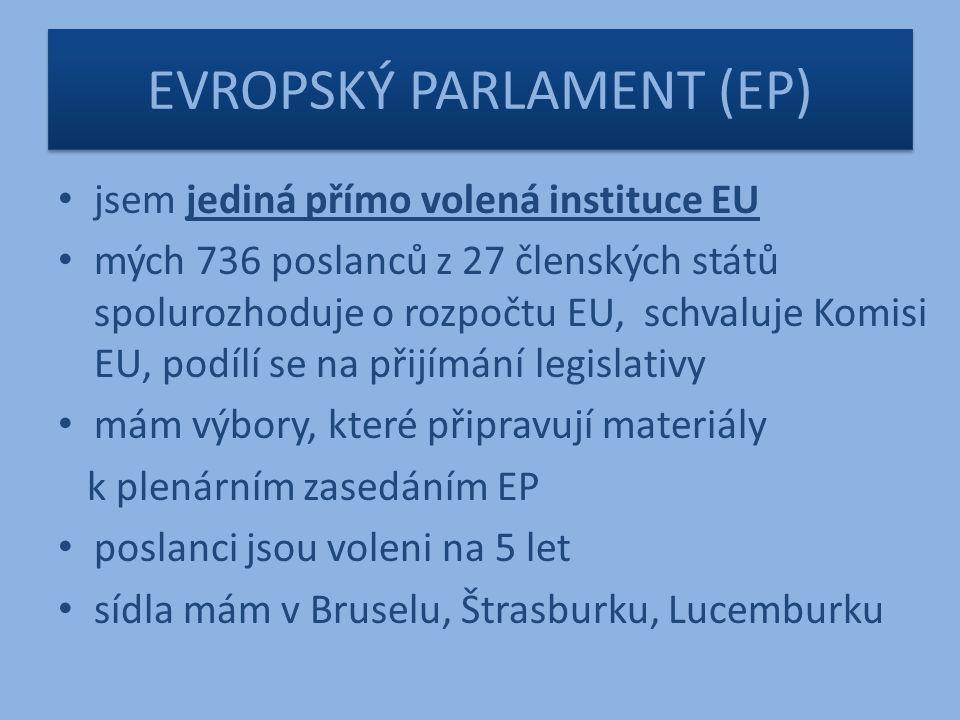 EVROPSKÝ PARLAMENT (EP) jsem jediná přímo volená instituce EU mých 736 poslanců z 27 členských států spolurozhoduje o rozpočtu EU, schvaluje Komisi EU, podílí se na přijímání legislativy mám výbory, které připravují materiály k plenárním zasedáním EP poslanci jsou voleni na 5 let sídla mám v Bruselu, Štrasburku, Lucemburku