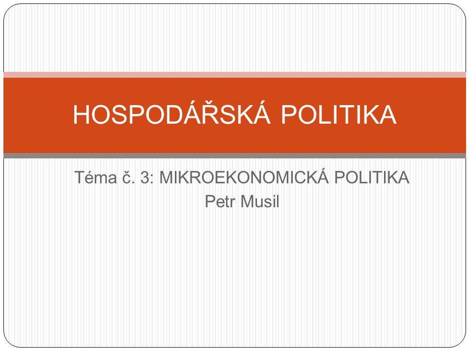 Mikroekonomická HOPO Politika hospodářské soutěže Strukturální politika Důchodová politika (politika přerozdělovací) Sociální politika