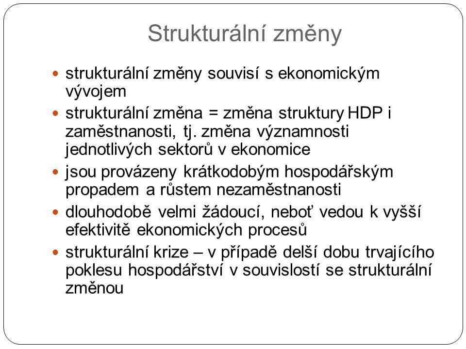 Strukturální změny strukturální změny souvisí s ekonomickým vývojem strukturální změna = změna struktury HDP i zaměstnanosti, tj. změna významnosti je