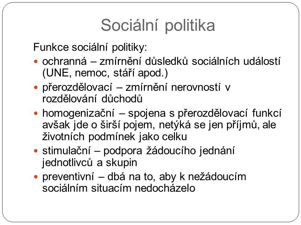Sociální politika Funkce sociální politiky: ochranná – zmírnění důsledků sociálních událostí (UNE, nemoc, stáří apod.) přerozdělovací – zmírnění nerov