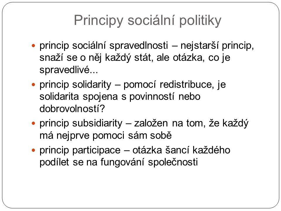 Principy sociální politiky princip sociální spravedlnosti – nejstarší princip, snaží se o něj každý stát, ale otázka, co je spravedlivé... princip sol