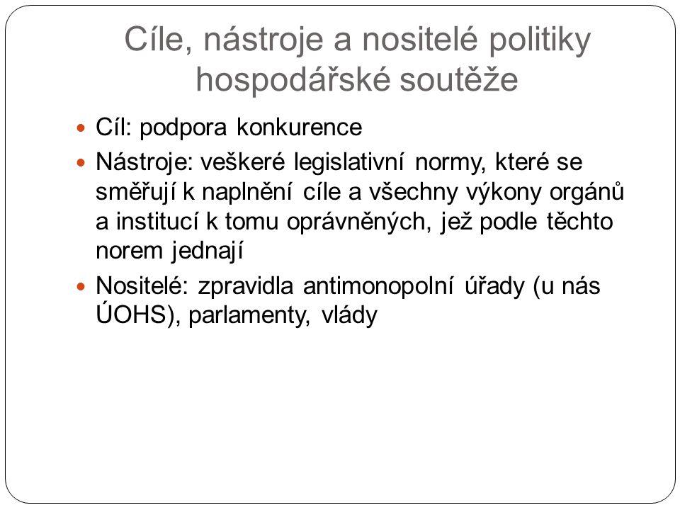 Cíle, nástroje a nositelé politiky hospodářské soutěže Cíl: podpora konkurence Nástroje: veškeré legislativní normy, které se směřují k naplnění cíle