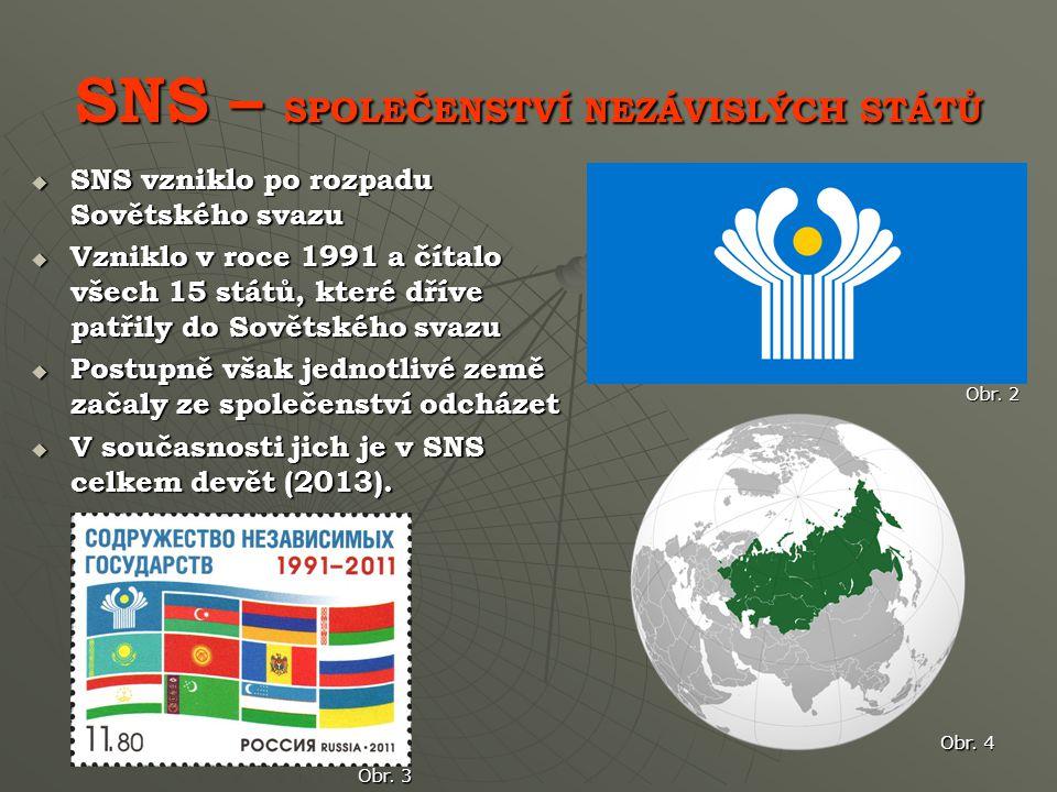 SNS – SPOLEČENSTVÍ NEZÁVISLÝCH STÁTŮ  SNS vzniklo po rozpadu Sovětského svazu  Vzniklo v roce 1991 a čítalo všech 15 států, které dříve patřily do Sovětského svazu  Postupně však jednotlivé země začaly ze společenství odcházet  V současnosti jich je v SNS celkem devět (2013).