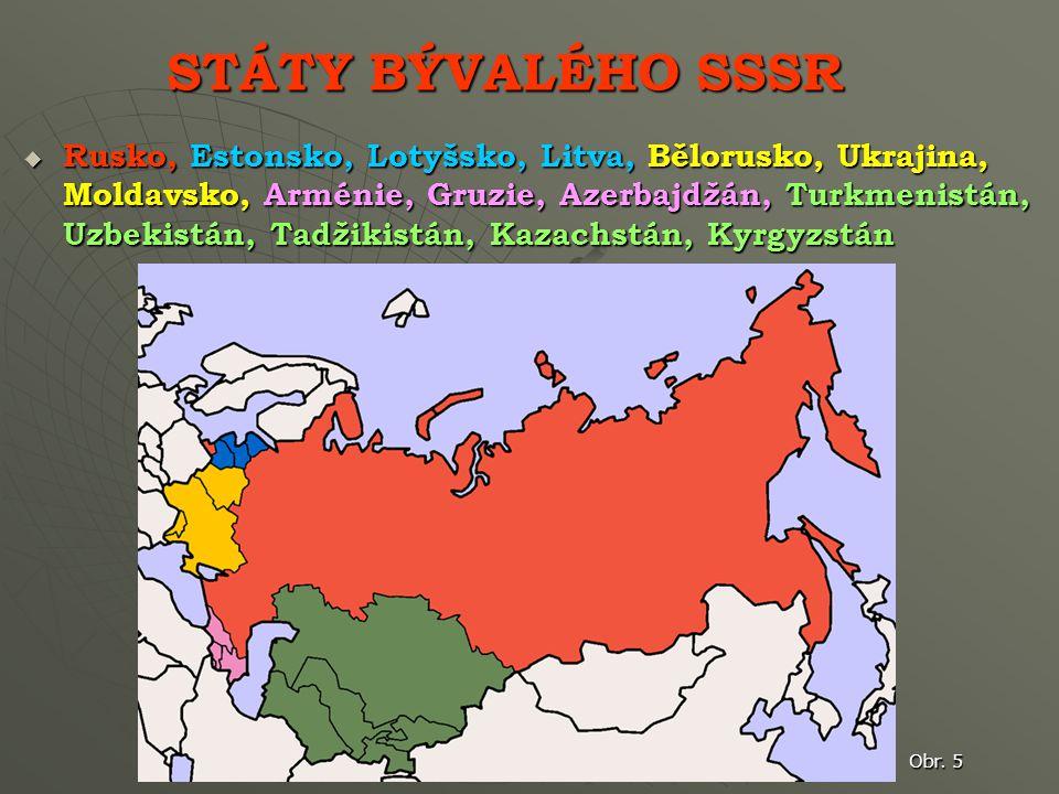 STÁTY BÝVALÉHO SSSR  Rusko, Estonsko, Lotyšsko, Litva, Bělorusko, Ukrajina, Moldavsko, Arménie, Gruzie, Azerbajdžán, Turkmenistán, Uzbekistán, Tadžikistán, Kazachstán, Kyrgyzstán Obr.