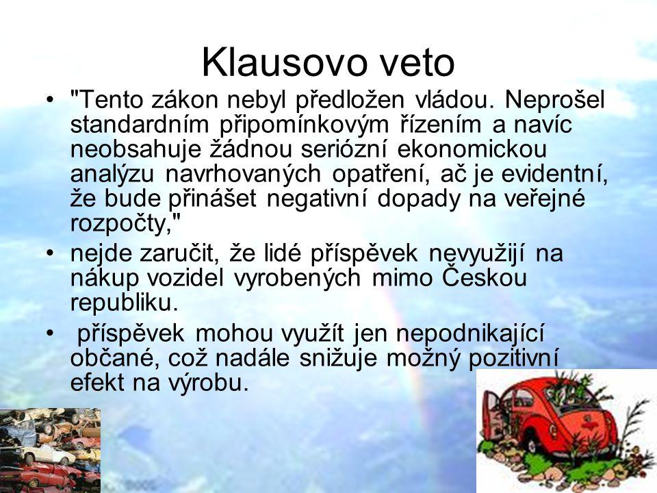Klausovo veto Tento zákon nebyl předložen vládou.