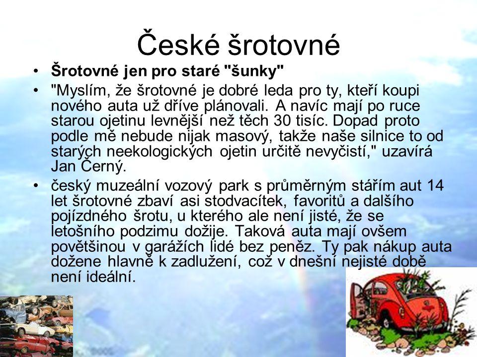 České šrotovné Šrotovné jen pro staré šunky Myslím, že šrotovné je dobré leda pro ty, kteří koupi nového auta už dříve plánovali.